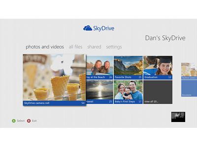 SkyDrive 登上 Xbox 360,透過電視看照片影片、還可用 Kinect 控制