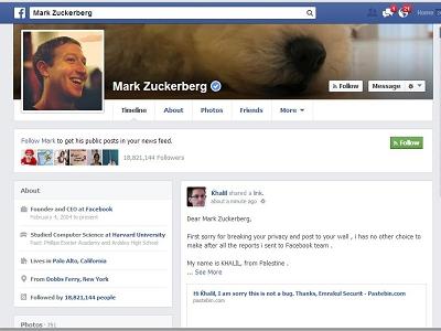 駭客駭了 Facebook 創辦人的臉書首頁,因為他回報一個臉書的漏洞卻沒人理