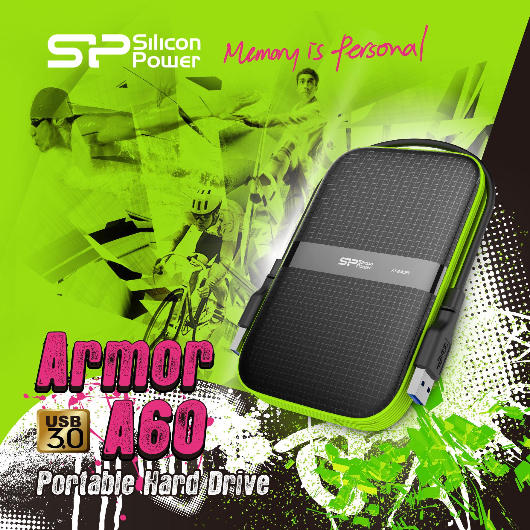SP廣穎電通推出超強悍USB 3.0軍規防震防潑水外接硬碟—Armor A60 飆鋒戰將 重裝上陣