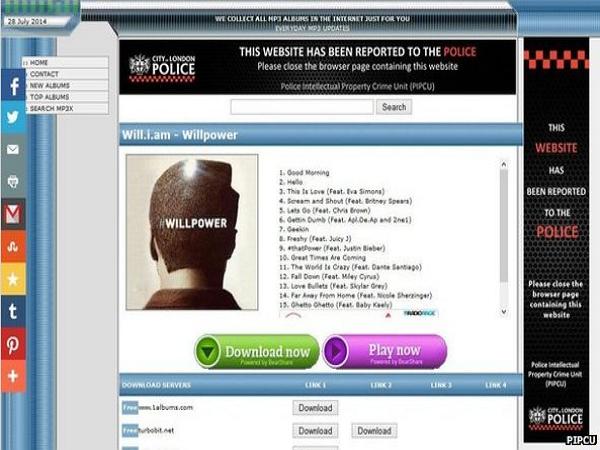 英國打擊盜版網站出奇招:將網站廣告版面替換為警方警告