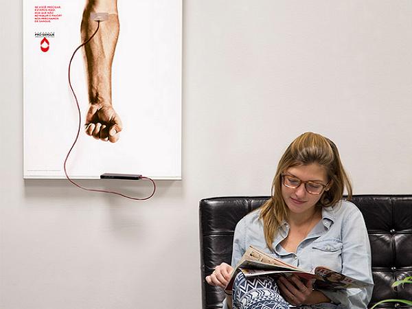 可以幫你手機充電的捐血廣告 | T客邦