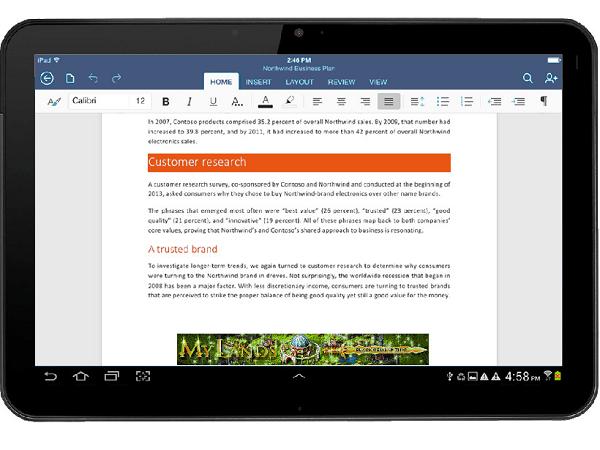 在 Android平板上,開放下載 Word、Excel、PowerPoint APP 了!