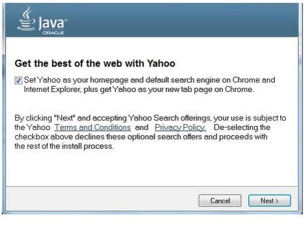 以後下載Java不只會附贈你Ask.com工具列,還會順便把搜尋引擎改成Yahoo!