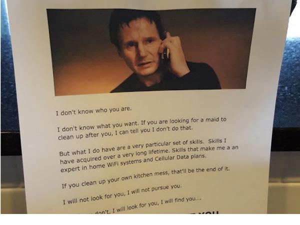 由於家中小孩不洗碗,所以這個老爸寫了一張「最強留言」......