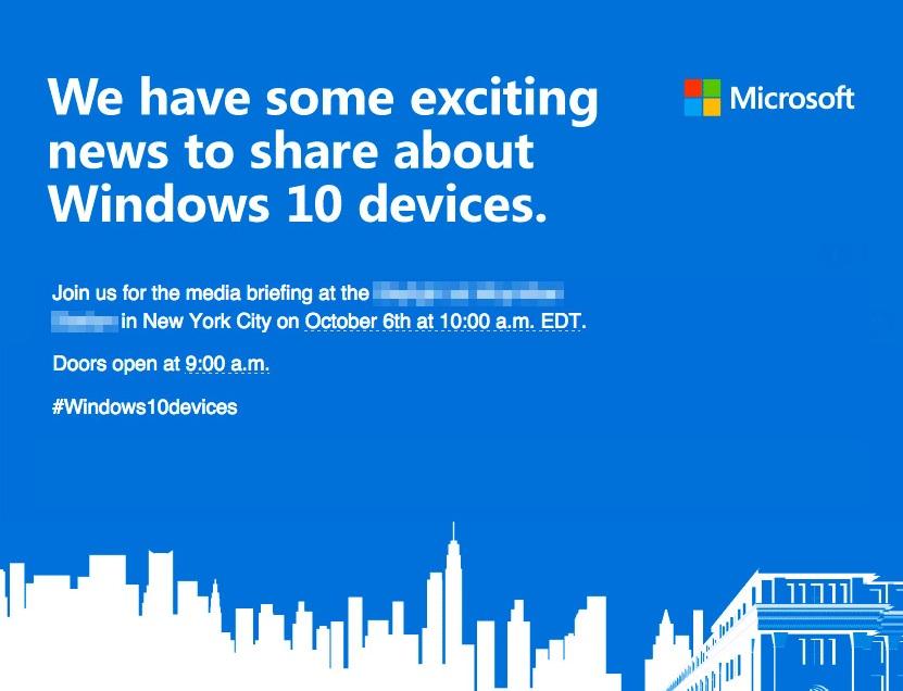 Surface Pro 4 上場?微軟發出新 Windows 10 發表會邀請函,預告 10/6 將推新品