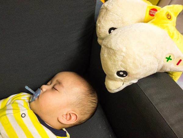 利用白噪音模擬子宮聲音的「蕉香海豚寶寶」安撫玩具,3個月以下成功率90%