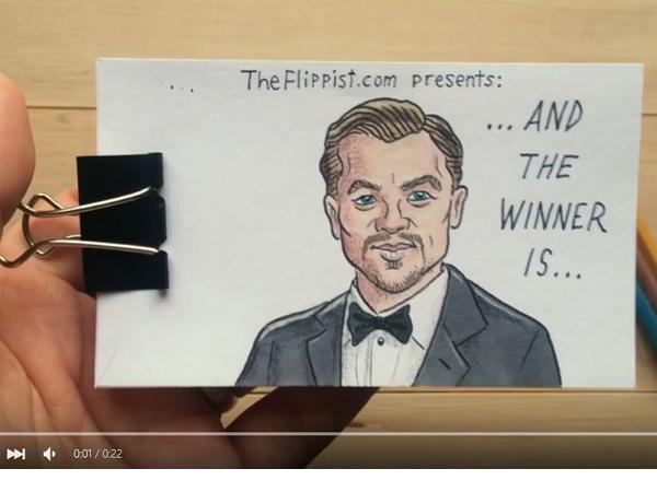 李奧納多終於得奧斯卡金像獎,網友用手繪動畫想像了頒獎的這一幕