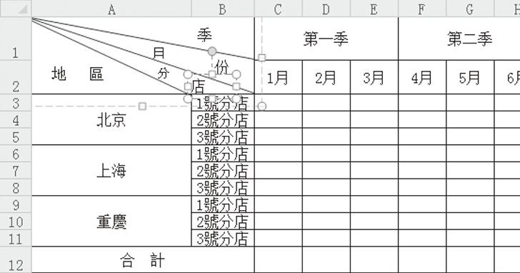 用Excel繪製多欄表頭