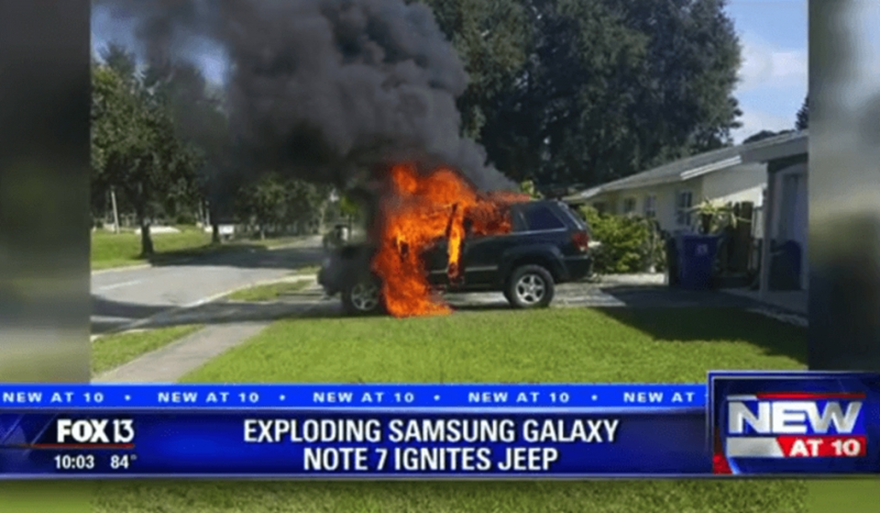 Samsung Galaxy Note 7爆不停?美國驚傳火燒車意外!