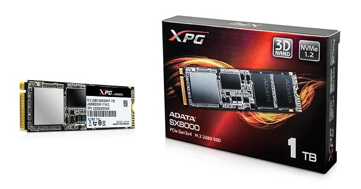 搶搭 PCIe NVMe 列車,ADATA 發表 XPG SX8000 固態硬碟