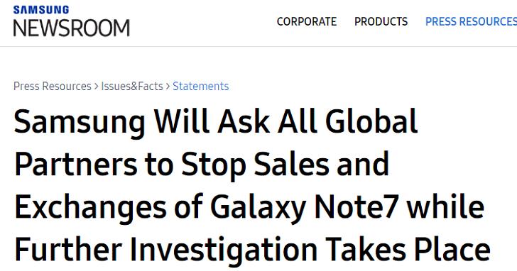 三星總部最新聲明:將要求全球停售Note 7並且停止換機,不論舊機或已更換新機都應立即停止使用(新增台灣三星聲明)