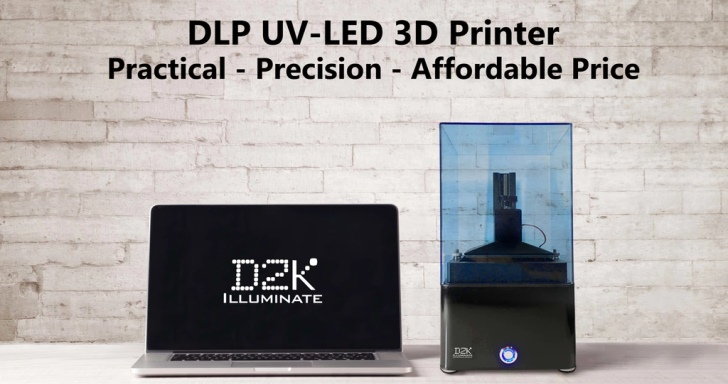 D2K Illuminate平價數位光處理3D印表機,具備573PPI精細度