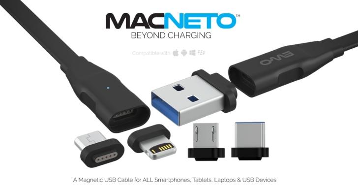 MACNETO磁吸式USB傳輸線不但可換頭,還能讓手機互傳資料