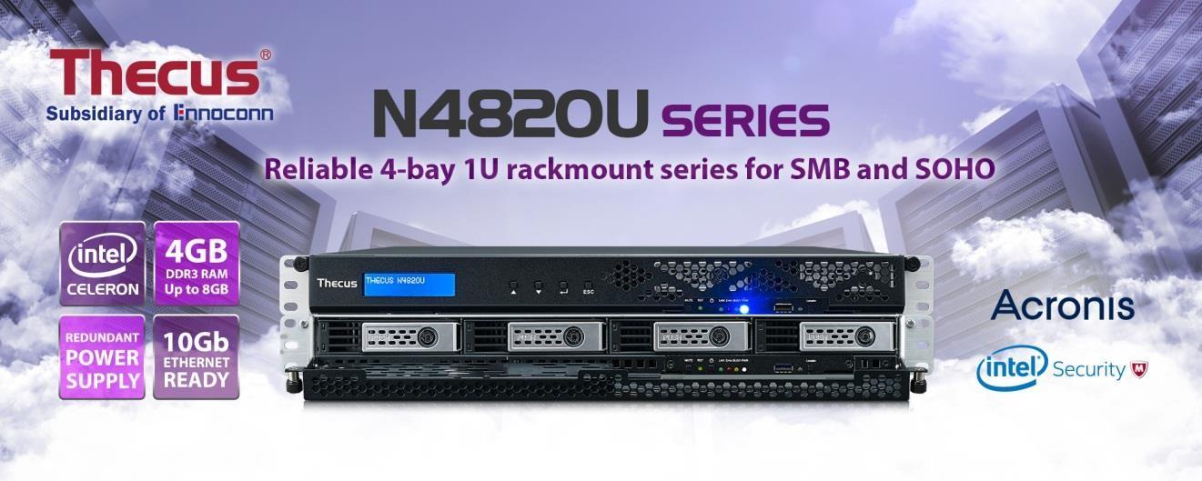 Thecus 推出新一代 4-Bay 機架式 NAS - N4820U 系列 可靠的 4-Bay 1U 機架式系列,滿足中小企業的需求。