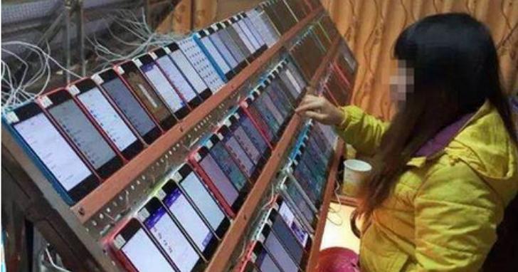 中國人肉刷評價農場已成過去,現代化評價農場現身:兩個人搞定一萬隻手機齊開刷