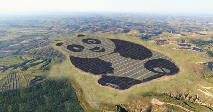 中國用熊貓的外型蓋了一座 100 公頃大的太陽能發電廠