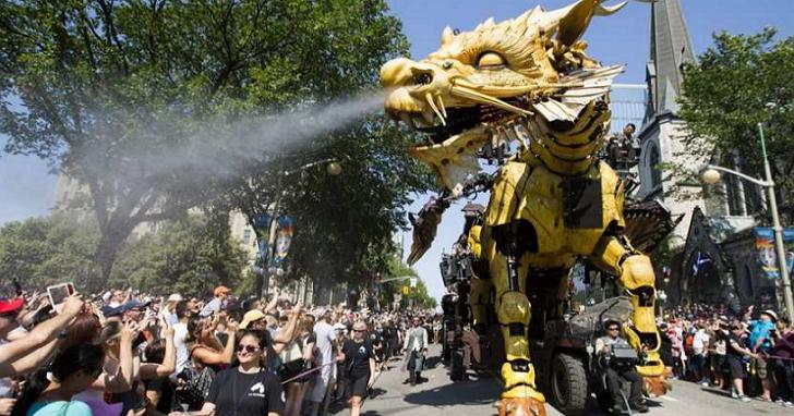 幻想成真!法國機械模型La Machine巨型蜘蛛與火龍在渥太華街頭對戰公演