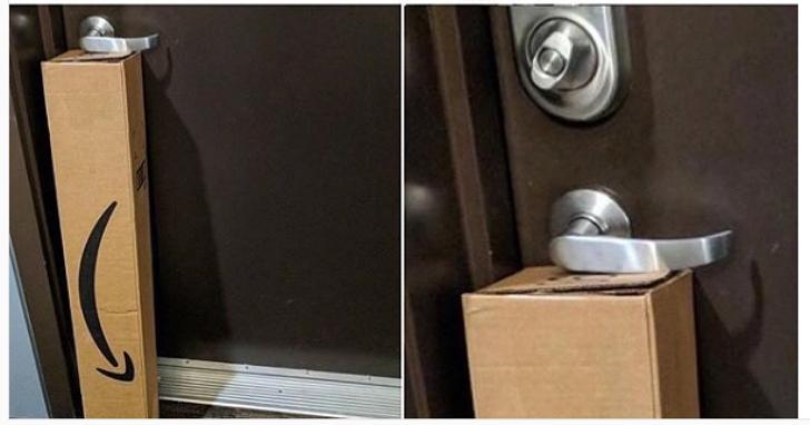 超囧!這家人被自己買的東西困在家門出不來,只因UPS快遞員把包裹這樣放