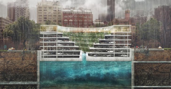 一次性解決都市綠地、淹水和停車場不足等問題,《Third Nature 》發表遇豪雨可漂浮的停車場!
