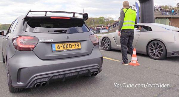 「最強鋼砲」越級挑戰,Brabus Mercedes-AMG A45 對決 Nissan GT-R、Audi R8 影片曝光!