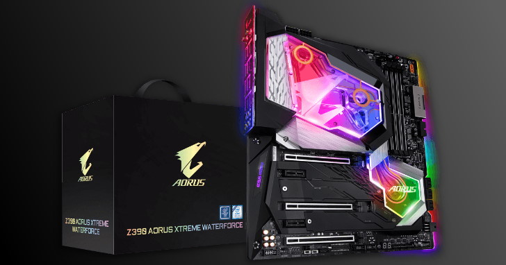 全覆式 RGB 水冷頭延伸至晶片組,GIGABYTE Z390 AORUS XTREME WATERFORCE 主機板現身
