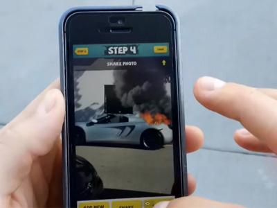 超跑即時火燒車照嚇壞車主!原來只是整人 App啦!