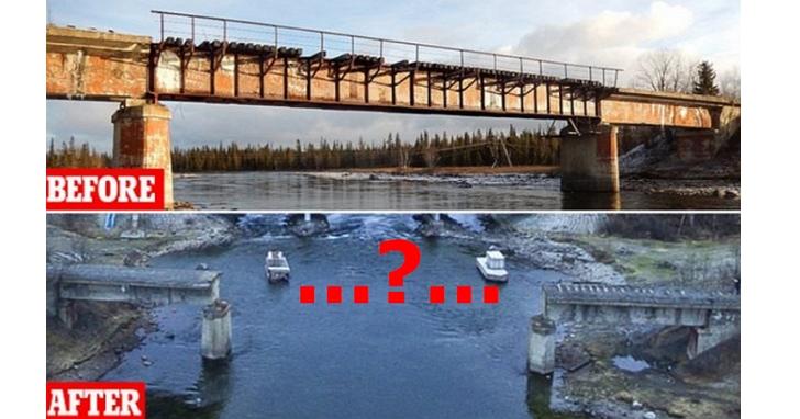 俄羅斯神偷,偷走了一座56噸重、23公尺高的鐵道橋