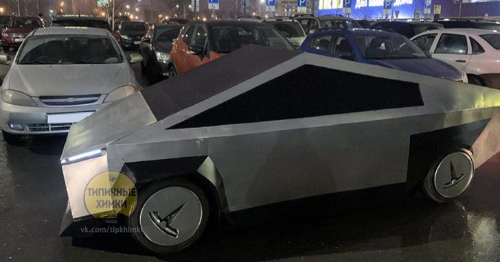 莫斯科街頭山寨版Cybertruck開上路,能跑、能撞、能甩尾,全手工製良心價約台幣33萬元你敢開?