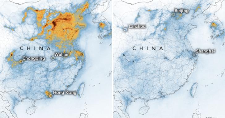 NASA 監測顯示,中國肺炎疫情使空氣汙染程度「直線下降」,地球因禍得福了嗎?