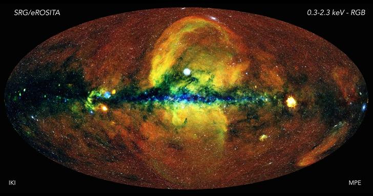 科學家利用 eROSITA X 射線望遠鏡的資料,繪製前所未見的宇宙全天空圖像