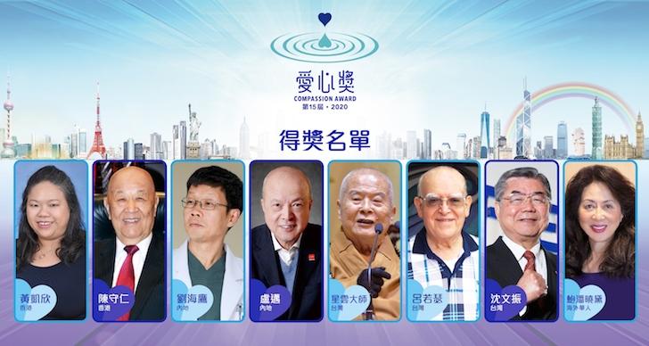 第15屆 2020「愛心獎」8位得獎人揭曉