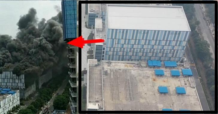 華為廣東東莞研發實驗室廠區燃燒起火,現場濃煙瀰漫