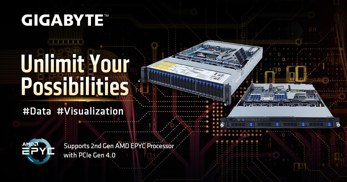技嘉科技推出2款機架式R系列伺服器 搭載第二代AMD EPYC處理器,擁有雙倍記憶體插槽數量!