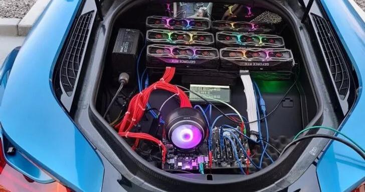加密礦工直接把 6 組 RTX 3080 裝在 BMW i8 上,一邊開車還一邊賺錢