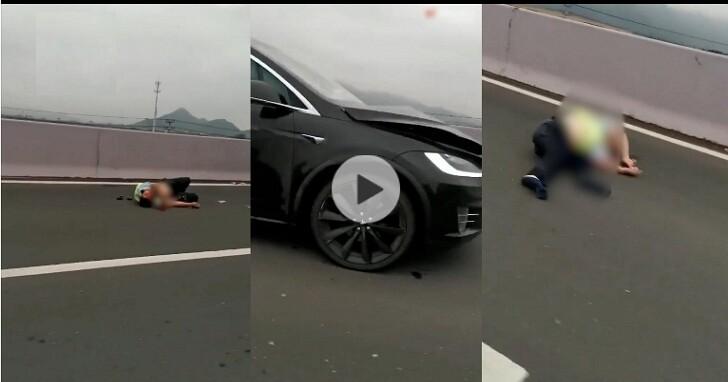 特斯拉在中國又出事,這次直接在高速公路上撞飛兩名交通警察