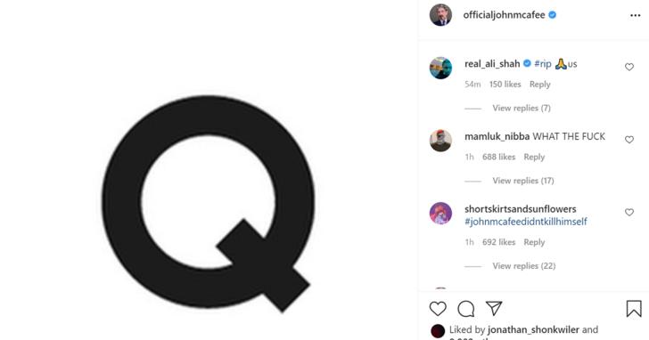 John McAfee 死後個人 IG 更新了一個「Q」,扯出美國「深層政府」陰謀論
