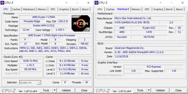 透過 GPU-Z 可看到處理器與主機板的資訊,處理器採用 AMD Ryzen 7 2700X 處理器,採 8 核心 16 執行緒架構,三階快取為 2 x 8 MB;主機板採用的是 MSI X470 Gaming Plus 電競系列。