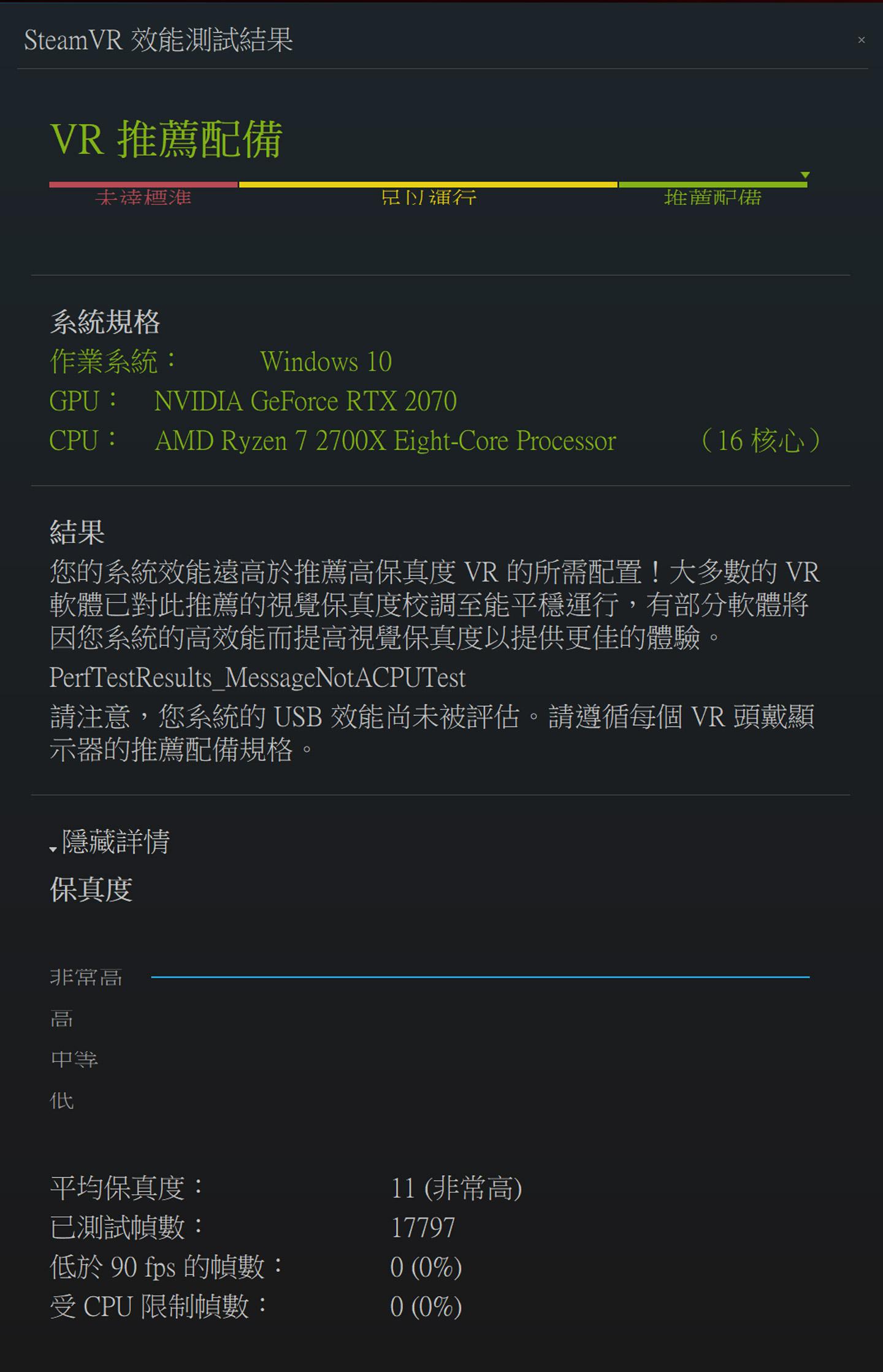 透過 SteamVR Performance 測試,獲得 11(非常高)的分數。
