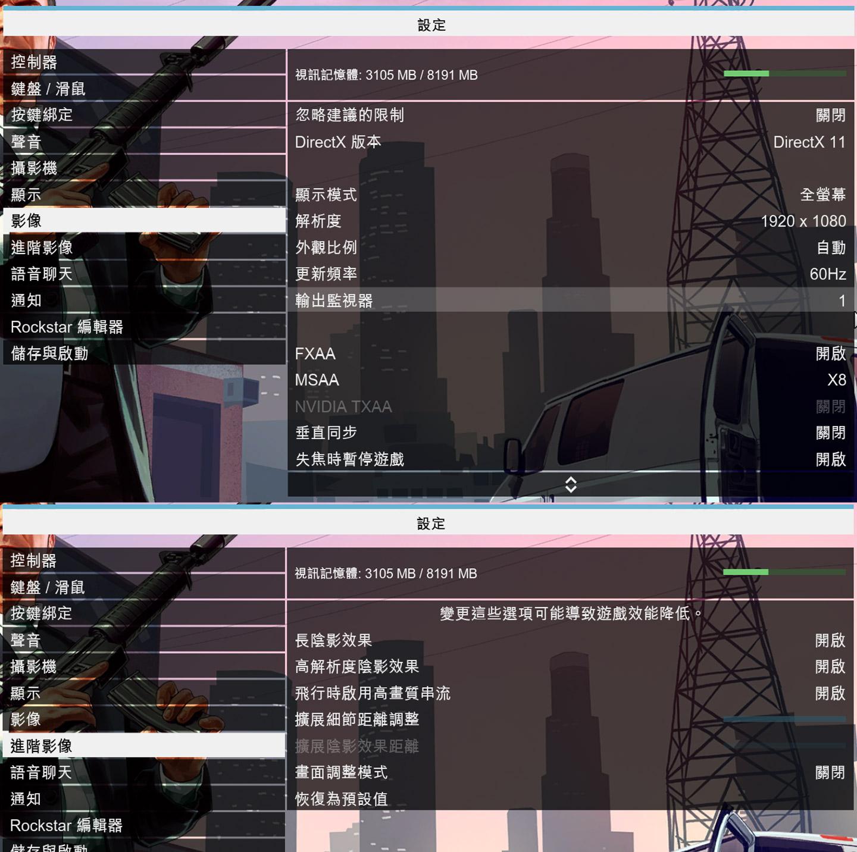 GTA 5 的影像設置為 DirecX 11,全螢幕 Full HD 解析度,開啟 FXAA 與 MSAA,並在進階影像將特效都開啟。
