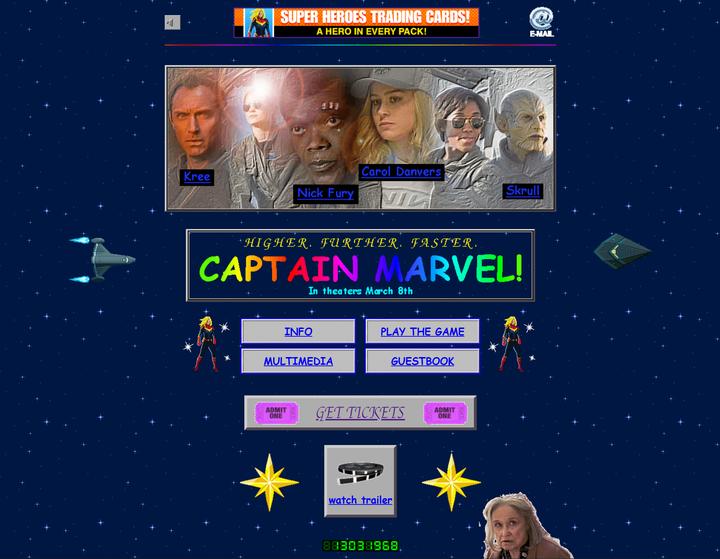 漫威《驚奇隊長》官網上線,帶你重回1995年的網站 1.0 時代