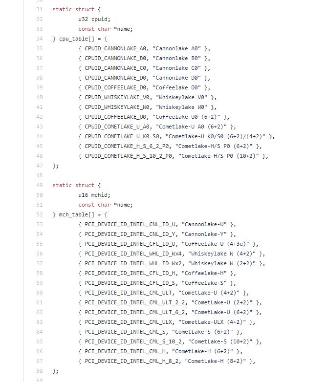 在近期 coreboot 原始碼當�,Intel 確定 Comet Lake 最高將有 10 核心版本