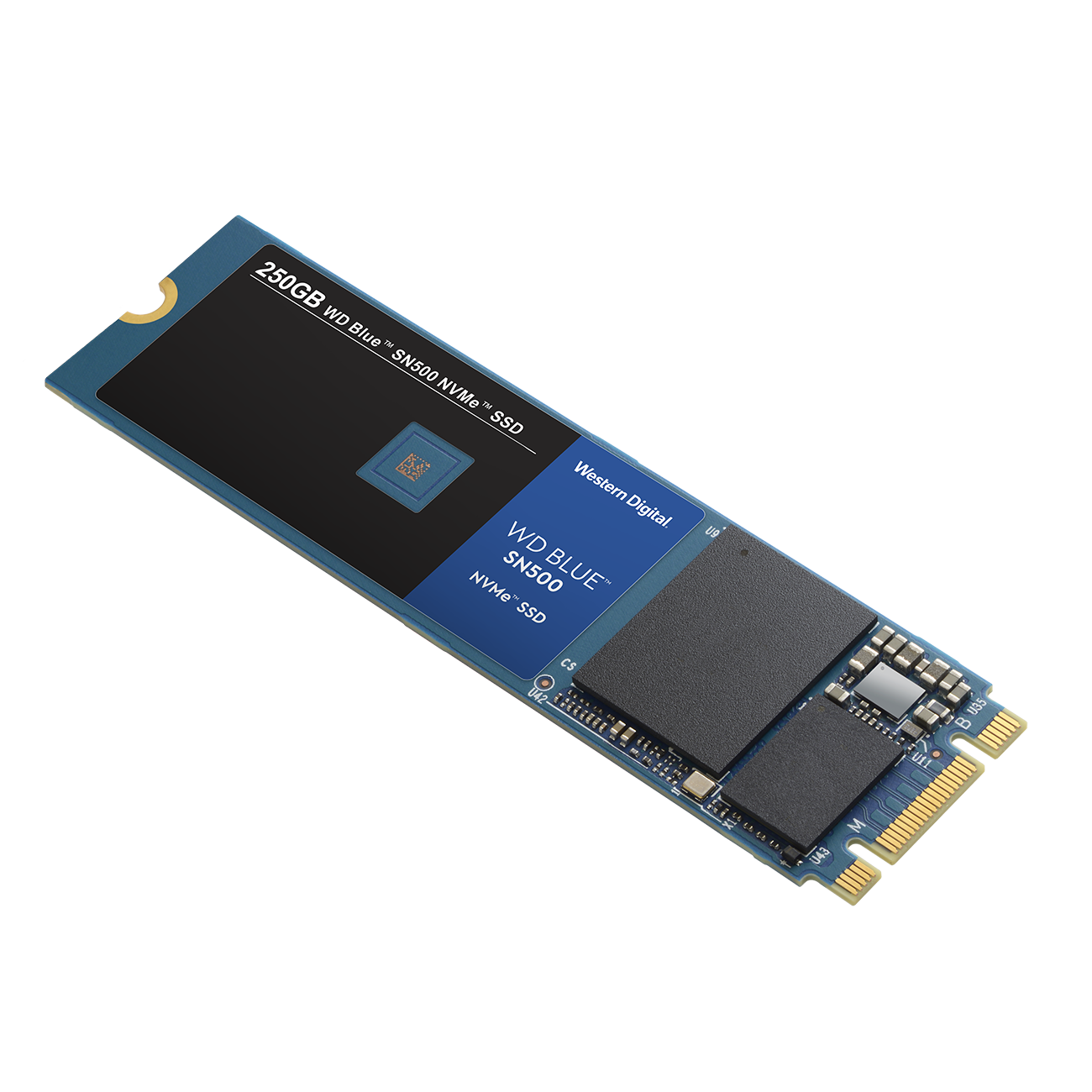 Western Digital 利用 WD Blue 較為親民的定位,推出採用 PCIe 3.0 x2 NVMe 介面規範的 WD Blue SN500 NVMe SSD,預計推出 250GB、500GB 容量版本