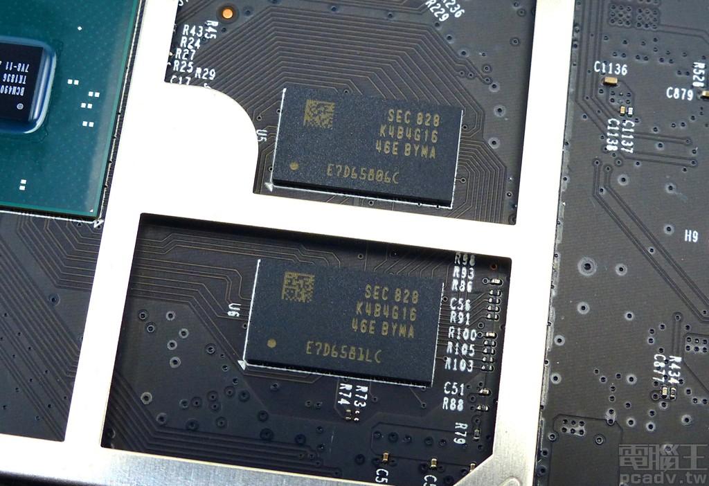 ▲ 運作所需記憶體採用 2 顆 Samsung K4B4G1646E-BYMA,單顆容量 4Gbit,最高速度達 DDR3L-1866。