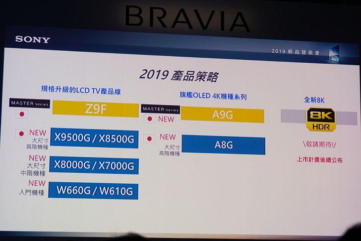 Sony 發表Bravia 2019 全新大尺寸電視機種A9G / X9500G,同時預告8K HDR