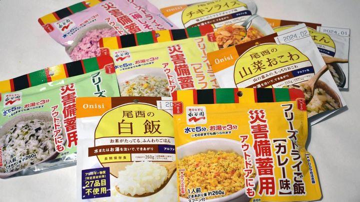 各種即食飯,其�「尾西牌」為推薦榜第一名,圖自 toyokeizai.net