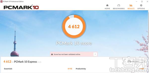 PCMark 10測試模擬網頁瀏覽、文書工作、視訊會�、多媒體影音�放�情境,在�獲得約4,612分。