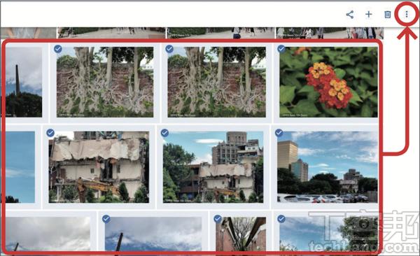 1.開啟Google相簿網頁版,利用Shift鍵一次選取多張照片,並點選右上角「選單」圖示。