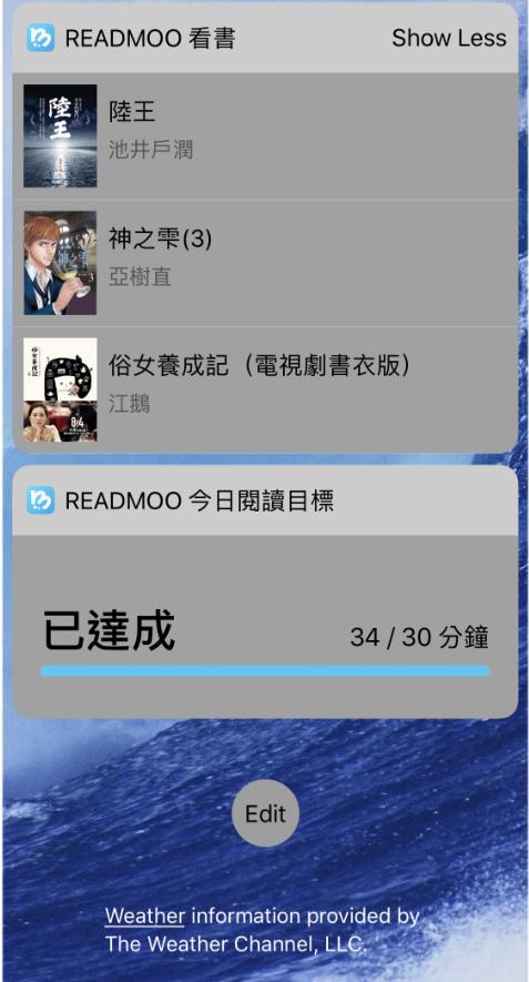 iOS版支援Widgets小工具:使用者可以在手機螢幕上看到最近閱讀的三本書,以及是否達成今天的閱讀目標。