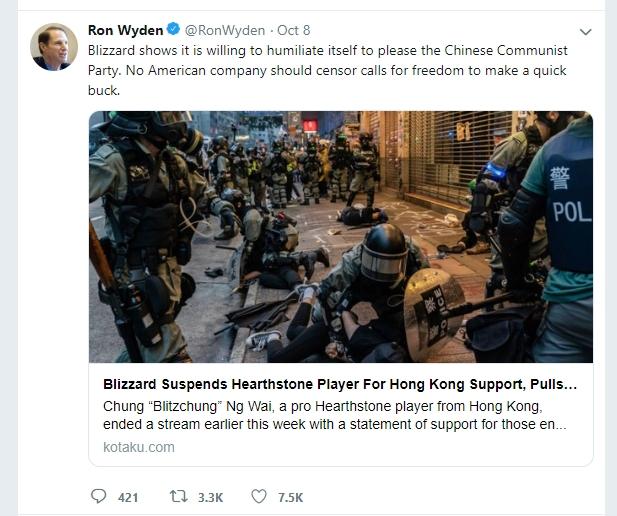 《爐石戰記》禁賽事件發酵,美國參議員:美國公司不該以犧牲言論自由作為賺中國快錢的門票