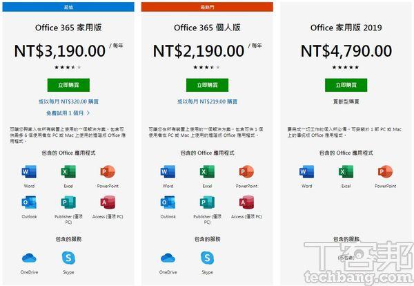 從微軟銷售網頁不難看出,Office 365的主力是家用版,其次才為個人版,而家用版也確實是比較超值的方案。